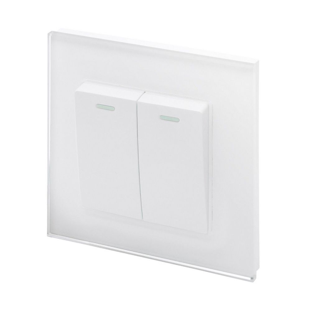 RetroTouch 2 Gang 1 or 2 Way 10A Rocker Light Switch White Glass PG 00213